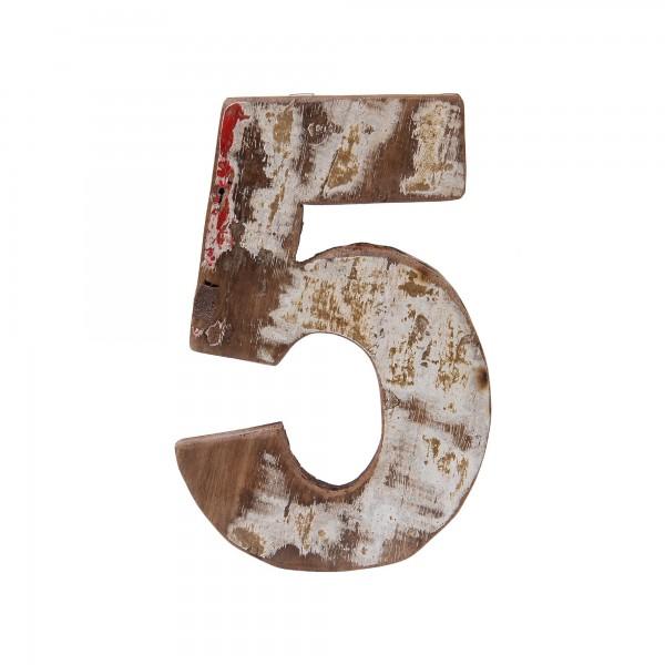 Holzziffer '5', multicolor, T 19 cm, B 13 cm, H 2 cm