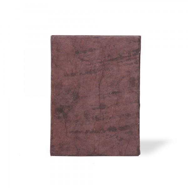 Notizbuch mit Blatt, braun, T 7,5 cm, B 5,5 cm, H 1 cm
