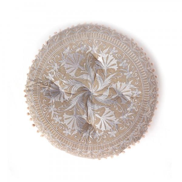 Sitzkissen 'Surat', braun, beige, Ø 55 cm, H 10 cm