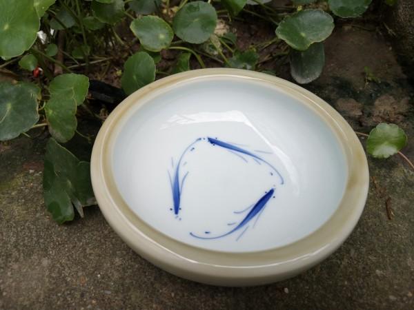Keramikschale, weiß, blau, Ø 15 cm, H 5 cm