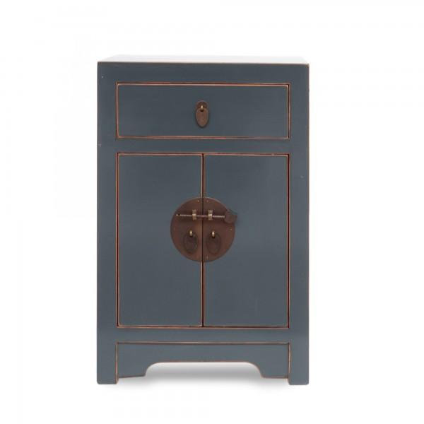 Schrank, 2 Türen, 1 Schublade, blau, gold, T 30 cm, B 40 cm, H 60 cm
