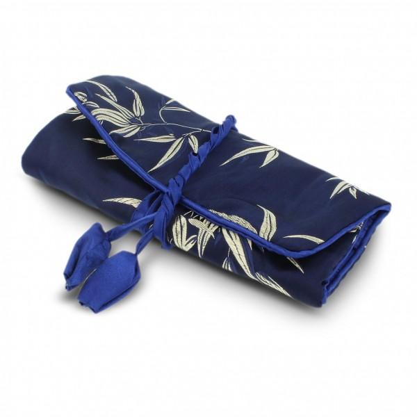 Schmucktäschchen faltbar, blau, B 19 cm, H 9 cm
