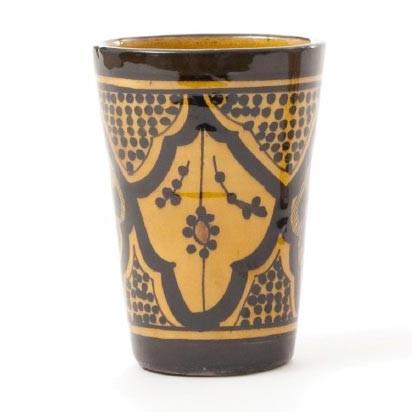 "Trinkbecher ""Safi"", schwarz/braun Ornament, H 13 cm, Ø 10 cm"