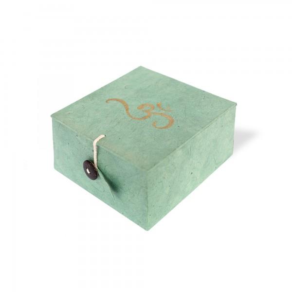 Lokta Box Om, aqua, T 11 cm, B 11 cm, H 5,5 cm
