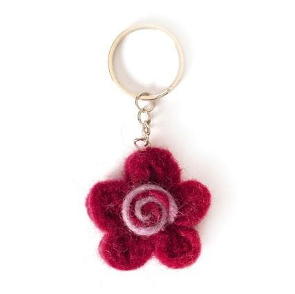 """Handgefilzter Schlüsselanhänger """"Sonne"""" aus Nepal, aus 100% Schafswolle"""