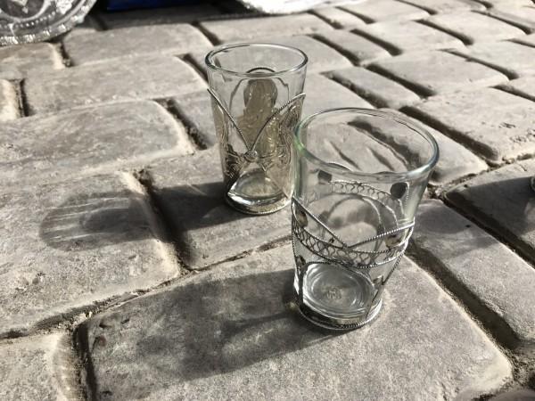 Teeglas Tokyo mit Metallbehälter, transparent, Ø 5 cm, H 8,5 cm