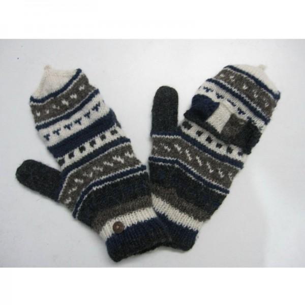 Handschuhe blau/weiß, handgestrickt in Nepal