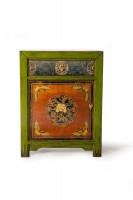 Kommode, 1 Tür, 1 Schublade, orange, grün, T 40 cm, B 65 cm, H 85 cm