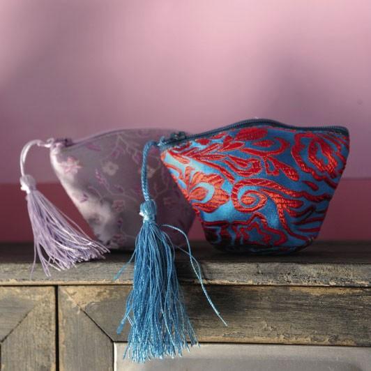 Kosmetiktäschchen, violett, L 11 cm, B 4,5 cm, H 7 cm