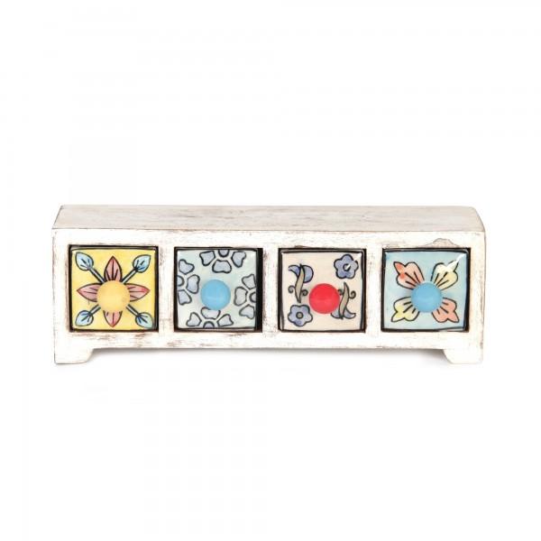 Schmucktruhe mit 4 Schubladen, weiß, L 10 cm, B 30 cm, H 10 cm