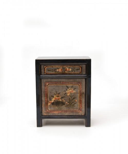 Schrank, 1 Tür, 1 Schublade, schwarz, T 60 cm, B 35 cm, H 75 cm