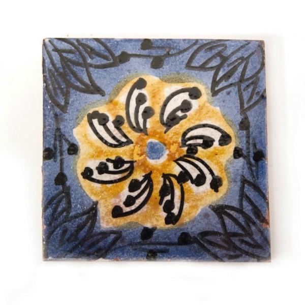 "Fliese ""Soleil"", blau/gelb, L 10 cm, B 10 cm, H 1 cm"