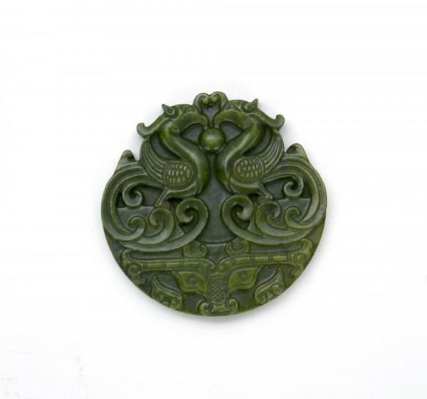 Talisman Jade Feuervogel, grün, T 5-10 cm, B 5-10 cm,