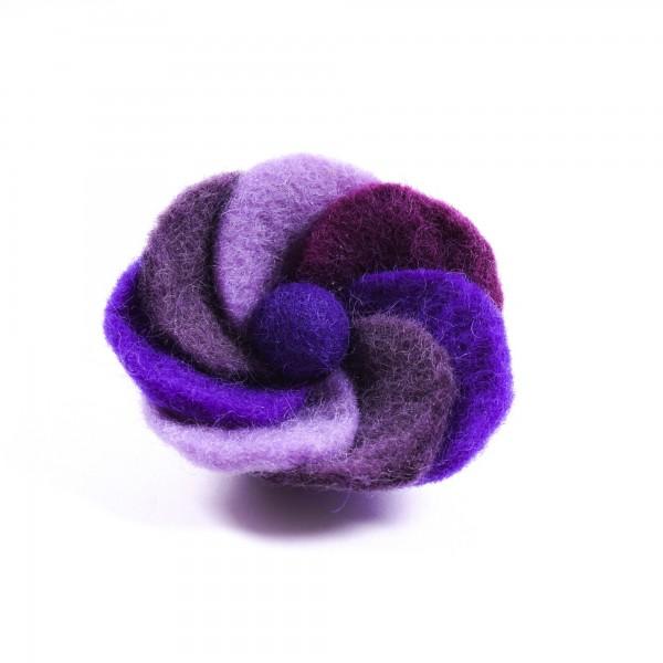 """Brosche """"Spiralblume"""", aus Filz, blau/lila"""