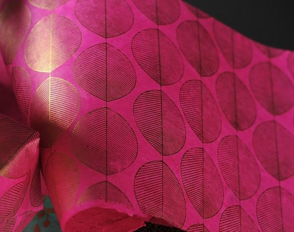 Geschenkpapier 'Schneebeere', rosa, L 76 cm, B 50 cm