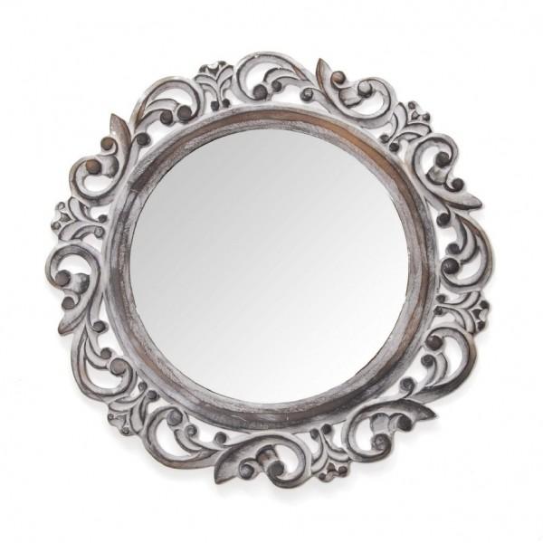 Spiegel rund, antik-weiß, Ø 49 cm