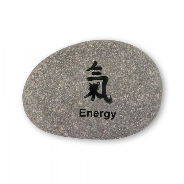 Flusskieselstein 'Energy', grau, T 8 cm, B 8 cm