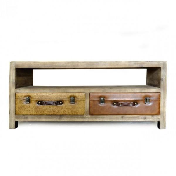 """TV-Board """"Luggage"""", braun, T 38 cm, B 120 cm, H 52 cm"""