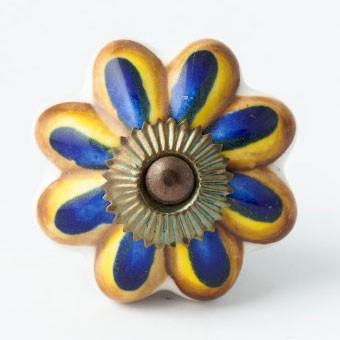 "Türknauf ""Blume"", blau/braun, Ø 4 cm"