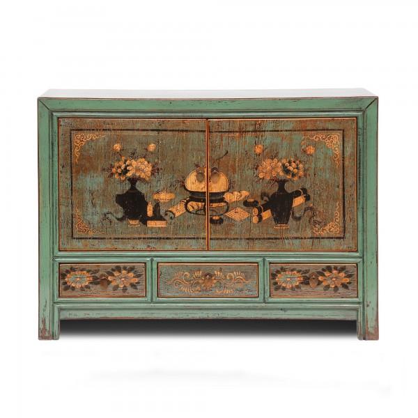 Kommode, 2 Türen, 3 Schubladen, blau, T 40 cm, B 85 cm, H 117 cm