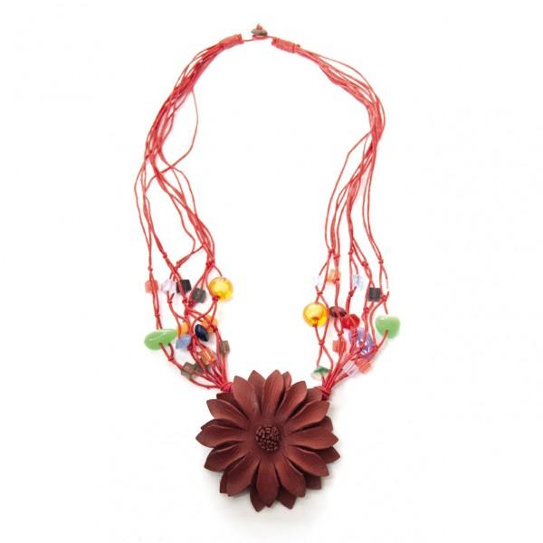 """Halskette """"Blume"""", rot"""