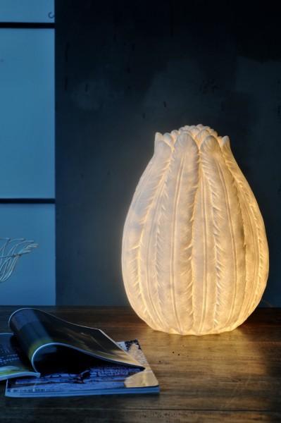 Leuchte 'Federn' oval, weiß, T 35 cm, B 35 cm, H 47,5 cm