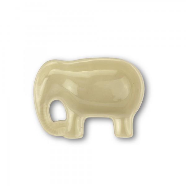 Schale 'Elefant', weiß, T 7 cm, B 9 cm, H 2,5 cm