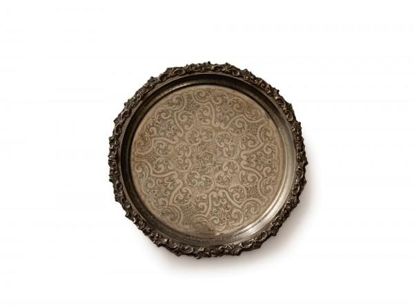altes Tablett marokkanisch versilbert ohne Füße, silber, T 90 cm, B 90 cm