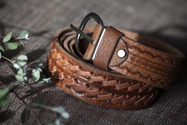 Ledergürtel geflochten, braun, L 85 cm