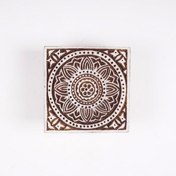 Holzstempel, handgeschnitzt, B 10 cm, H 10 cm