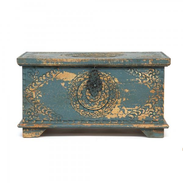 Truhe 'Ornamente', blau, T 36 cm, B 58 cm, H 31 cm