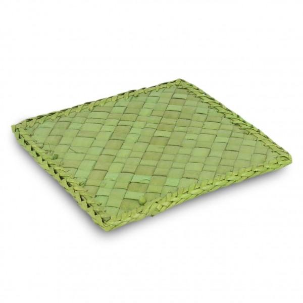 Untersetzer aus Palmblättern, grün, L 5 cm, B 5 cm