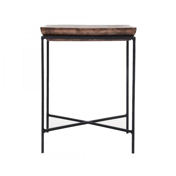 Tisch 'Abinash', schwarz, braun, T 30 cm, B 39 cm, H 50 cm