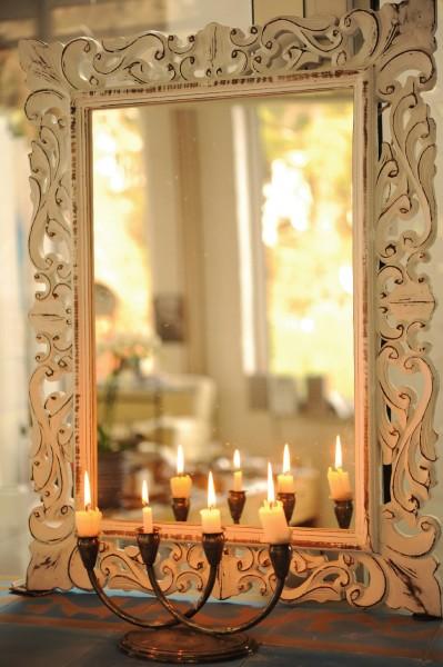 Spiegel rechteckig, antik-weiß, B 75 cm, H 95 cm