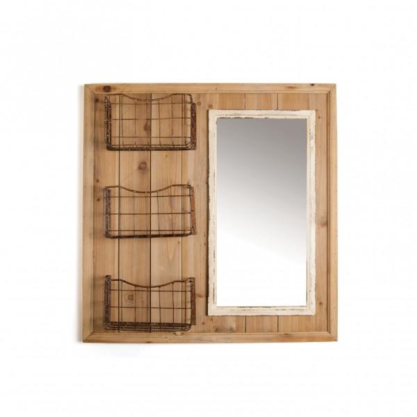 Wandregal 'Grasse', mit Spiegel, braun, B 79 cm, H 81 cm