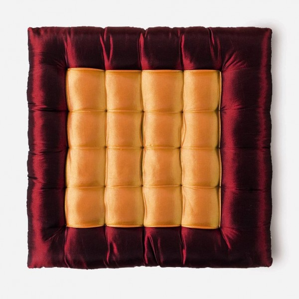 Seidenkissen, rot/orange, L 40 cm, B 40 cm, H 6 cm