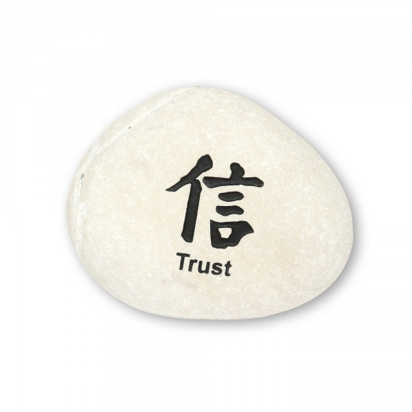 Flusskieselstein 'Trust', weiß, T 8 cm, B 8 cm