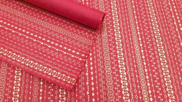 Geschenkpapier 'Herzen', rot, gold, L 76 cm, B 51 cm