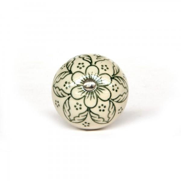 Knopf 'Blume', weiß, oliv, T 4 cm, B 4 cm, H 3,5 cm