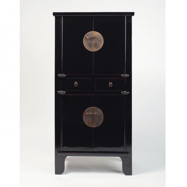 Viertüriger Schrank mit zwei Schubladen, schwarz, H 160 cm, B 80 cm, T 45 cm