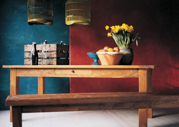 Holzbank aus recyceltem Teak, natur, H 47 cm, B 200 cm, T 35 cm