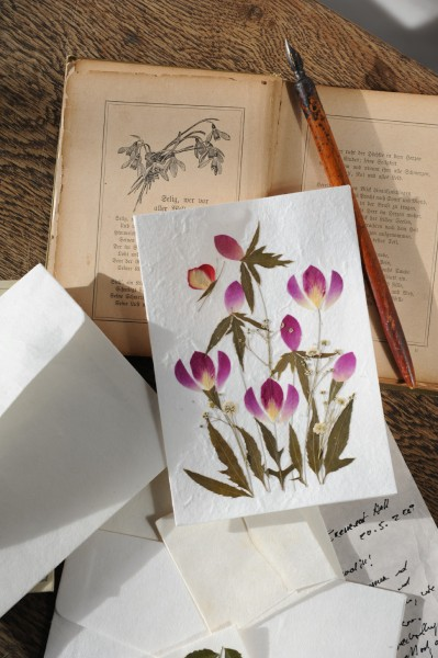Blumenkarte, mit Umschlag, B 12,5 cm, H 18 cm