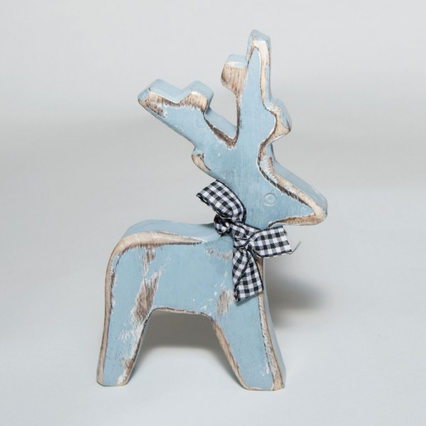 "Rentier ""Kaufbeuren"" aus Holz, eisblau, B 10 cm, H 19 cm"