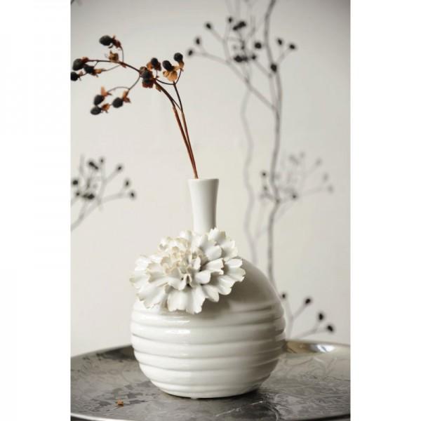 """Vase """"Dianthus caeruleus"""", weiß, H 20 cm, Ø 16 cm"""