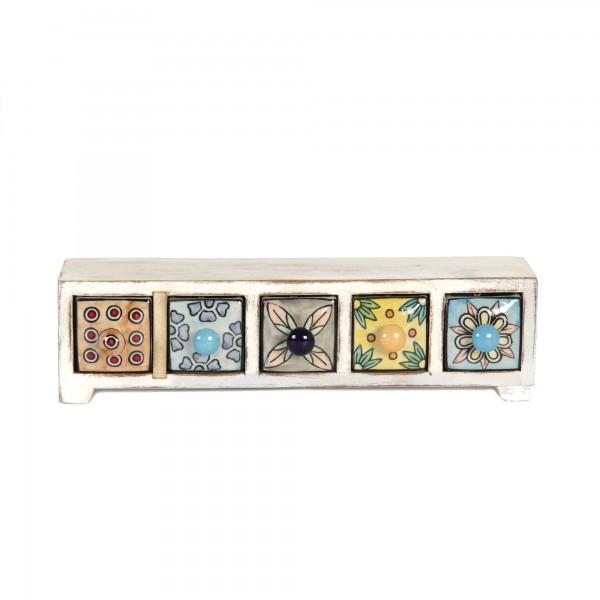 Schmucktruhe mit 5 Schubladen, weiß/multicolor, L 10 cm, B 35 cm, H 10 cm