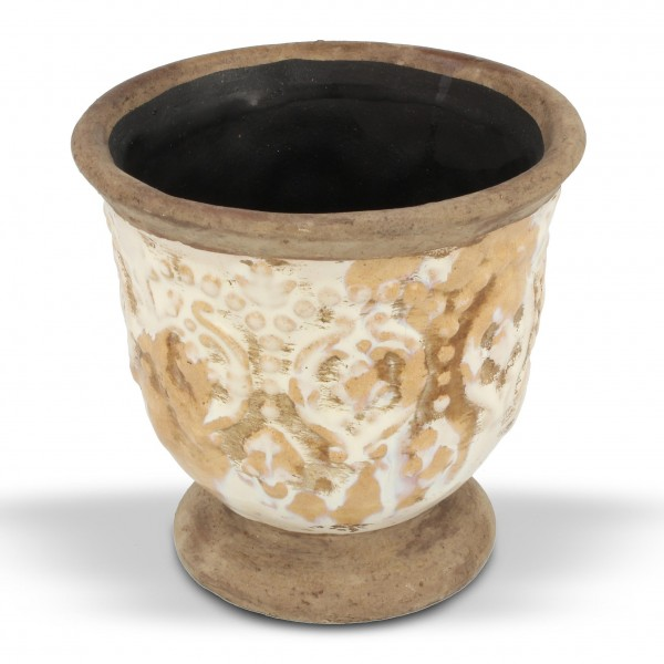 "Pflanztopf ""Loches"", antik-beige, H 11 cm, Ø 11,5 cm"