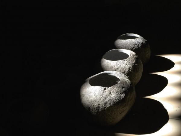 Blumenkübel aus Naturstein, natur, Ø 25 cm, H 15 cm