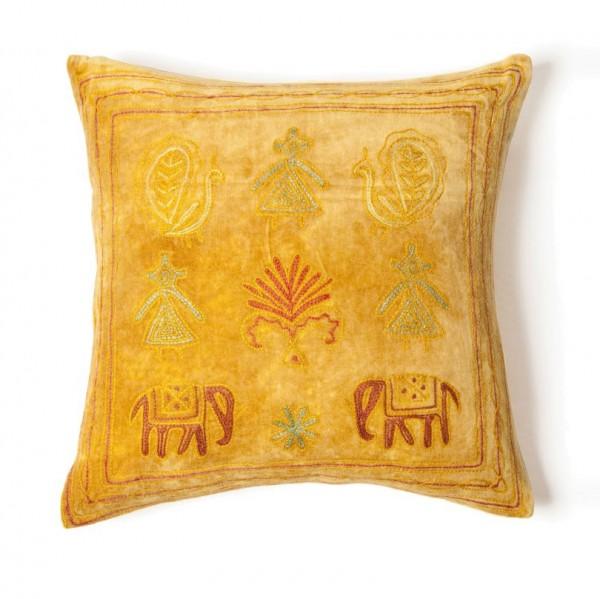 Kissenhülle 'Ari Velvet', gelb, L 40 cm, B 40 cm