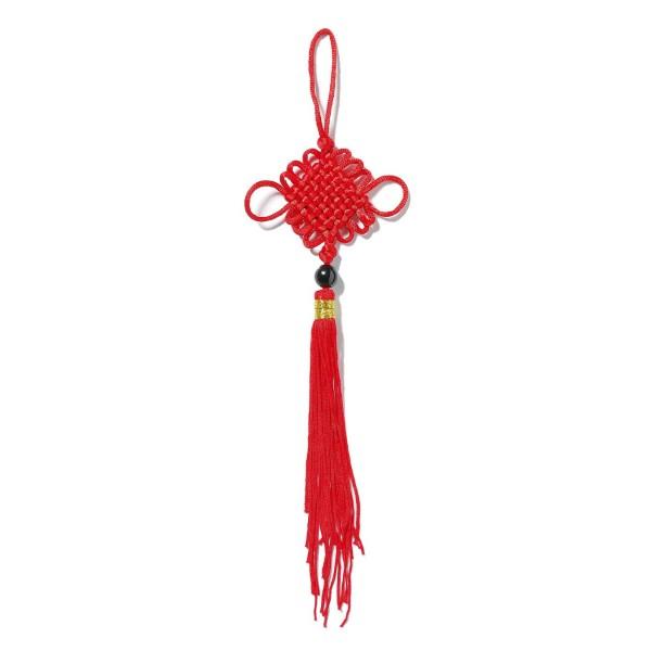 Schranktroddel mit Achatperle, rot, 23 cm lang