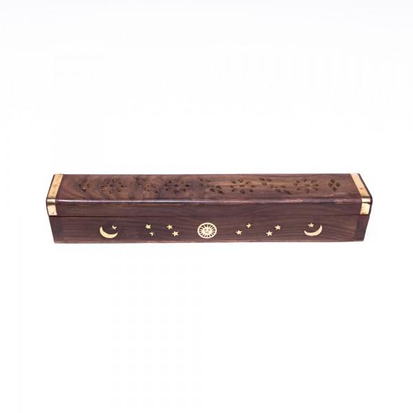 Räucherstäbchenbox, braun, L 6 cm, B 30 cm, H 6 cm